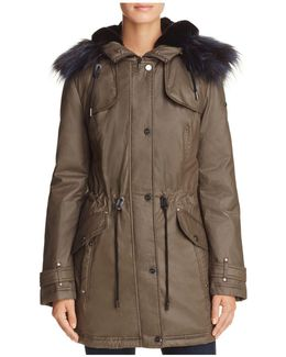Faux Fur Trim Waxed Anorak