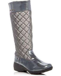 Alex Metallic Quilted Waterproof Wedge Boots