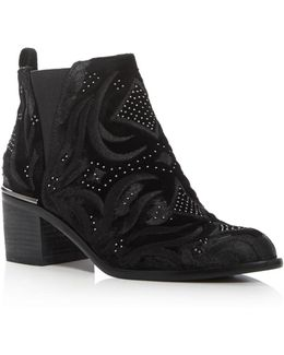 Preston Velvet Embroidered Booties
