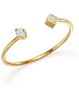 14k Yellow Gold Open Ring With Prong And Bezel Set Diamonds