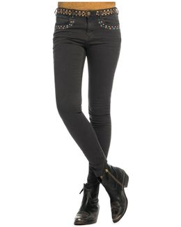 Embroidered Skinny Jeans In Phantom
