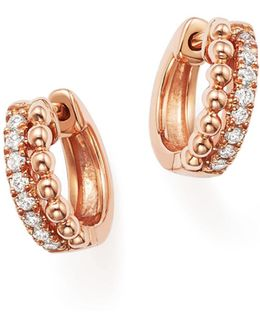 14k Rose Gold Beaded Diamond Huggie Hoop Earrings