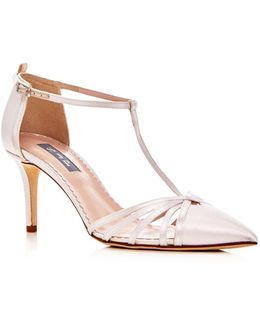 Carrie T Strap Pointed Toe Pumps