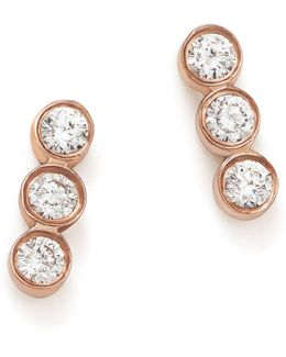 14k Rose Gold Triple Diamond Bezel Stud Earrings