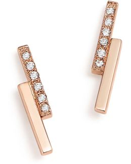 14k Rose Gold Staggered Bar Stud Earrings With Diamonds