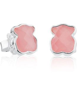 Sterling Silver And Rose Quartz Bear Stud Earrings