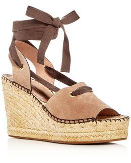 Christina Lace Up Espadrille Platform Wedge Sandals
