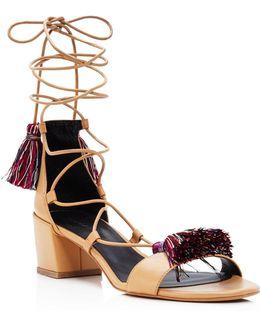 Isla Lace Up Tassel Mid Heel Sandals