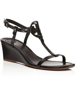 Miller T Strap Wedge Sandals