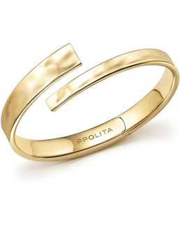 18k Yellow Gold Sensotm Textured Surface Hinged Bypass Bracelet