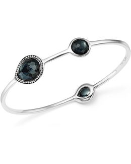 Sterling Silver Lollipop® Three Stone Bangle In Hematite Doublet With Diamonds