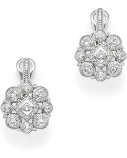 Sterling Silver La Petite Snowflake Cluster Earrings With White Sapphire