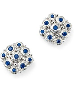 Sterling Silver Snowflake Stud Earrings With Sapphire
