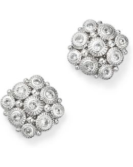 Sterling Silver Snowflake Stud Earrings With White Sapphire