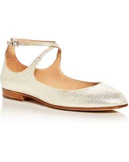 Yovela Metallic Crisscross Ankle Strap Flats