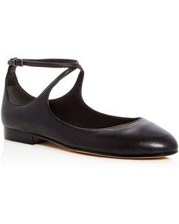Yovela Leather Crisscross Ankle Strap Flats
