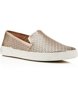 Gianna Perforated Metallic Leather Slip-on Sneakers