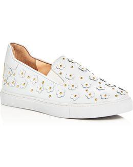 Flower Appliqué Slip-on Sneakers