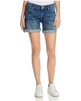 Emma Bermuda Denim Shorts In Cobalt Rush