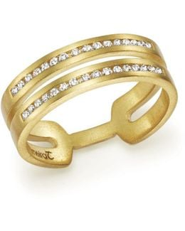 14k Yellow Gold Double Row Open Band Ring With Diamonds
