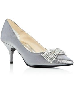 E-bow Embellished Metallic Pointed Toe Pumps
