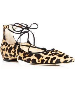 Tropicaly Leopard Print Lace Up Pointed Toe Ballet Flats