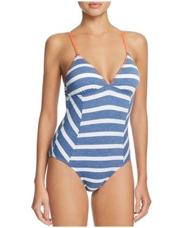 Chambray Cottage Stripe One Piece Swimsuit