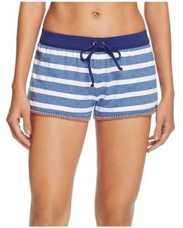 Chambray Cottage Stripe Swim Cover-up Shorts