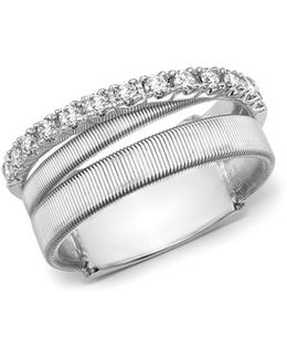 18k White Gold Masai Triple Row Diamond Ring
