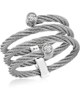 Gray Diamond Cable Ring