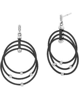 Black Cable Drop Earrings