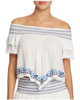 Embroidered Off-the-shoulder Top Swim Cover-up