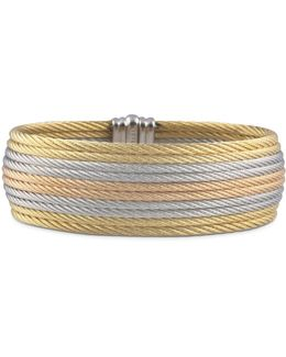 Rose & Yellow Stacked Cable Bangle