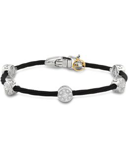Diamond Stud Black Cable Bangle