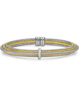 Two Tone Multi Cable Cuff With Diamonds