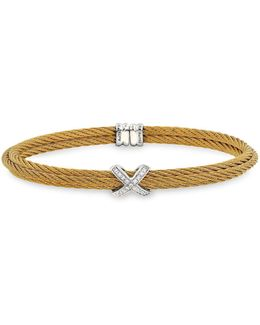Double Cable Cuff With Diamonds