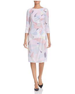 Abstract Print Shirred Dress