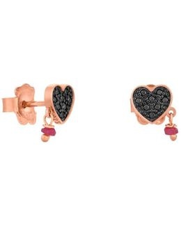 Jeweled Heart Stud Drop Earrings