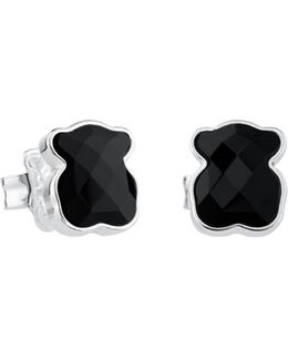 Mini Black Onyx Bear Sterling Silver Stud Earrings