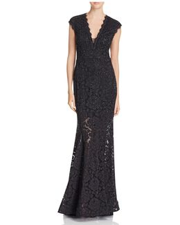 V-neck Sequin Lace Gown
