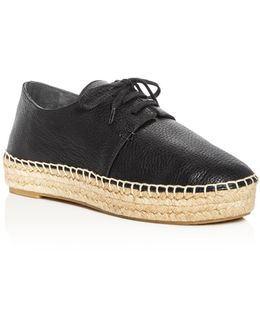Cynthia Leather Lace Up Espadrille Platform Oxfords