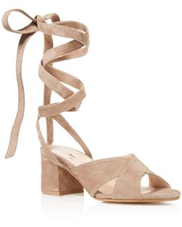 Blossom Lace Up Mid Heel Sandals