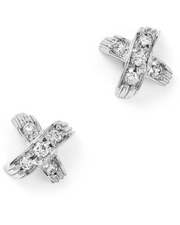 18k White Gold X Pavé Diamond Stud Earrings