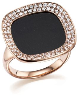 18k Rose Gold Carnaby Street Diamond And Black Jade Ring