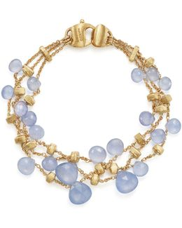 18k Yellow Gold Paradise Chalcedony Three Row Bracelet
