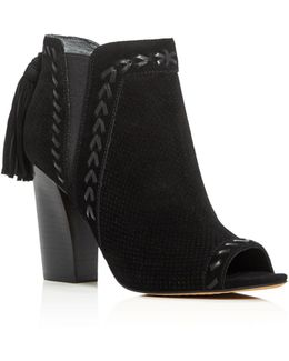 Ellena Tassel Open Toe High Heel Booties
