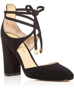 Graffi Ankle Tie Block Heel Pumps