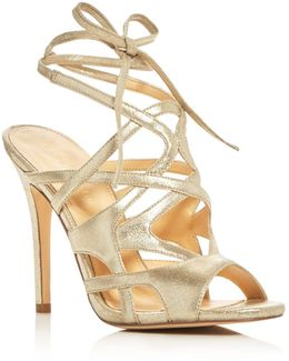 Hesther Metallic Ankle Tie High Heel Sandals