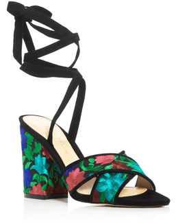 Kuriel Embroidered Ankle Tie High Heel Sandals