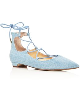 Tropica Denim Lace Up Pointed Toe Flats